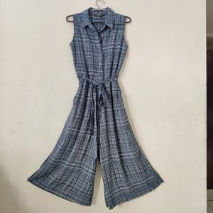 Zink London Navy Blue printed checked Jumpsuit